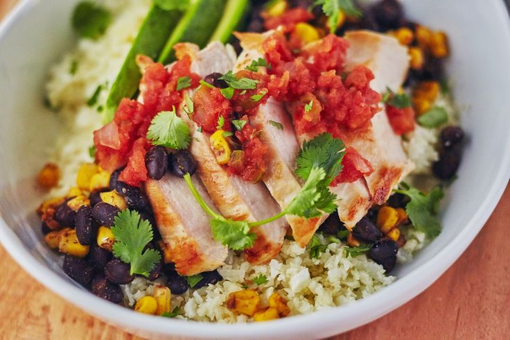 Easy Cauliflower Rice Burrito BowlsServes 41 (15-ounce) can black beans, drained and rinsed 1 cup frozen corn kernels 2 tablespoons water 1/2 teaspoon chili powder 1/2 teaspoon ground cumin 3/4 …