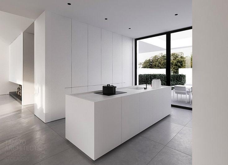 Moderne Innenarchitektur Minimalistisch Weiss Ofene Kueche  Fensterwand Garten