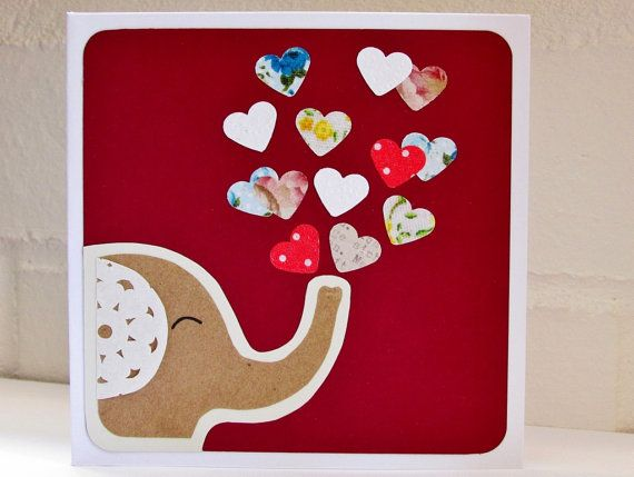 Elefant-Karte / Muttertagskarte / Love Hearts / Geburtstagskarte / Valentin…