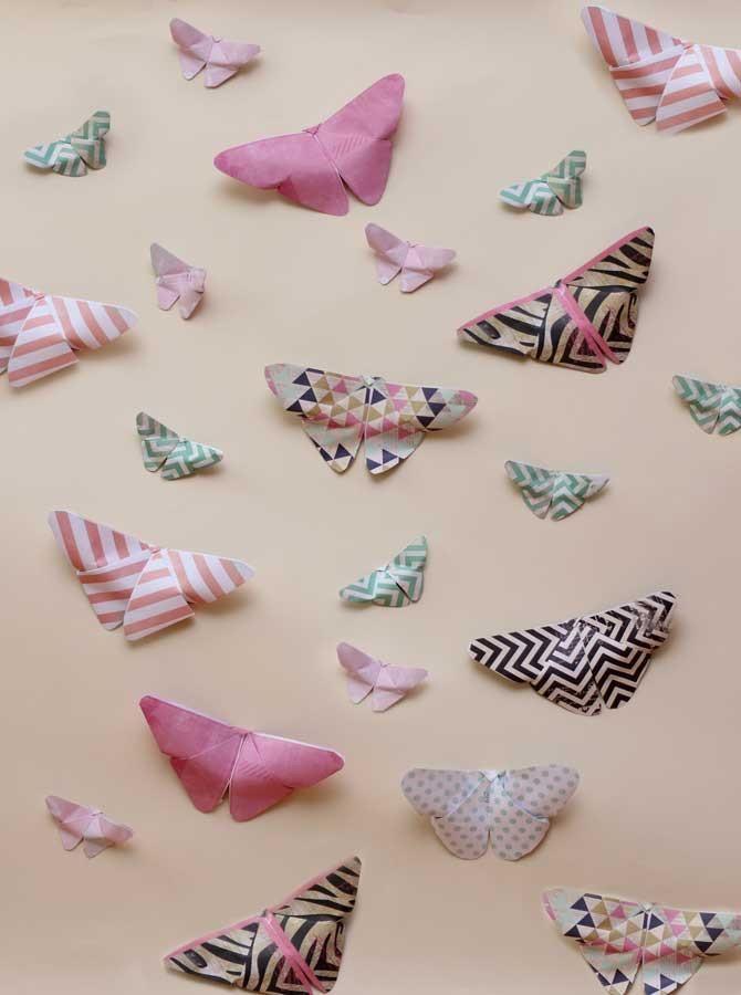 Paper Butterflies Background - 1649