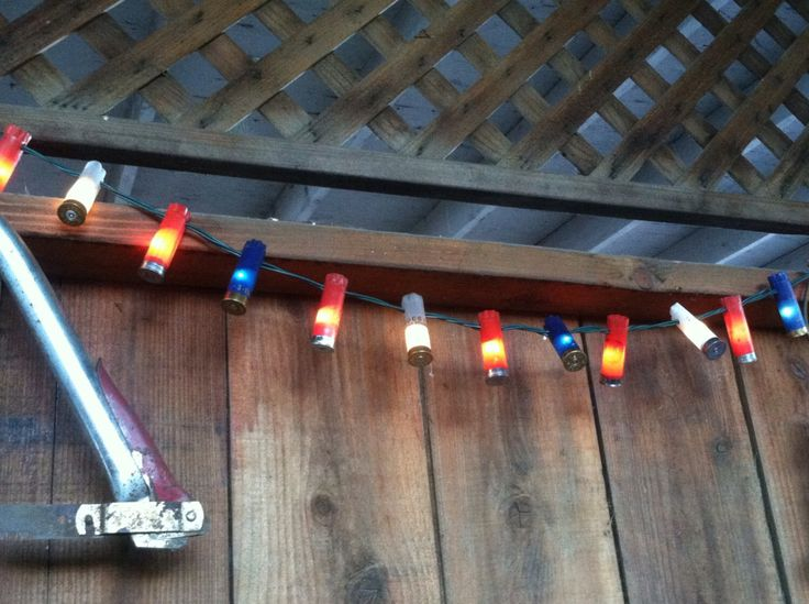 Outdoor String Lighting - Patriotic Outdoor Decor - Red, White, Blue Lights - Shot Gun Shell String Lights - Red Neck Decor - Party Lights by scequine on Etsy https://www.etsy.com/listing/199090578/outdoor-string-lighting-patriotic