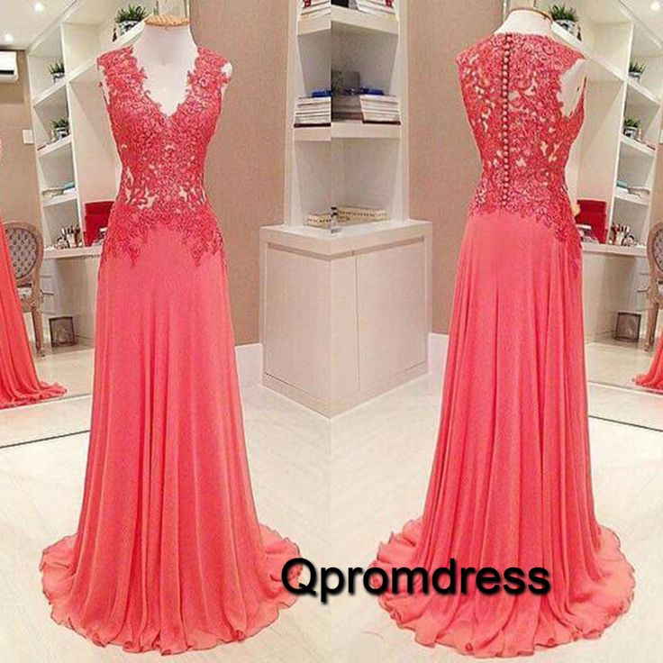Beautiful v-neck coral lace chiffon prom dress for teens, long prom dress 2016 #coniefox