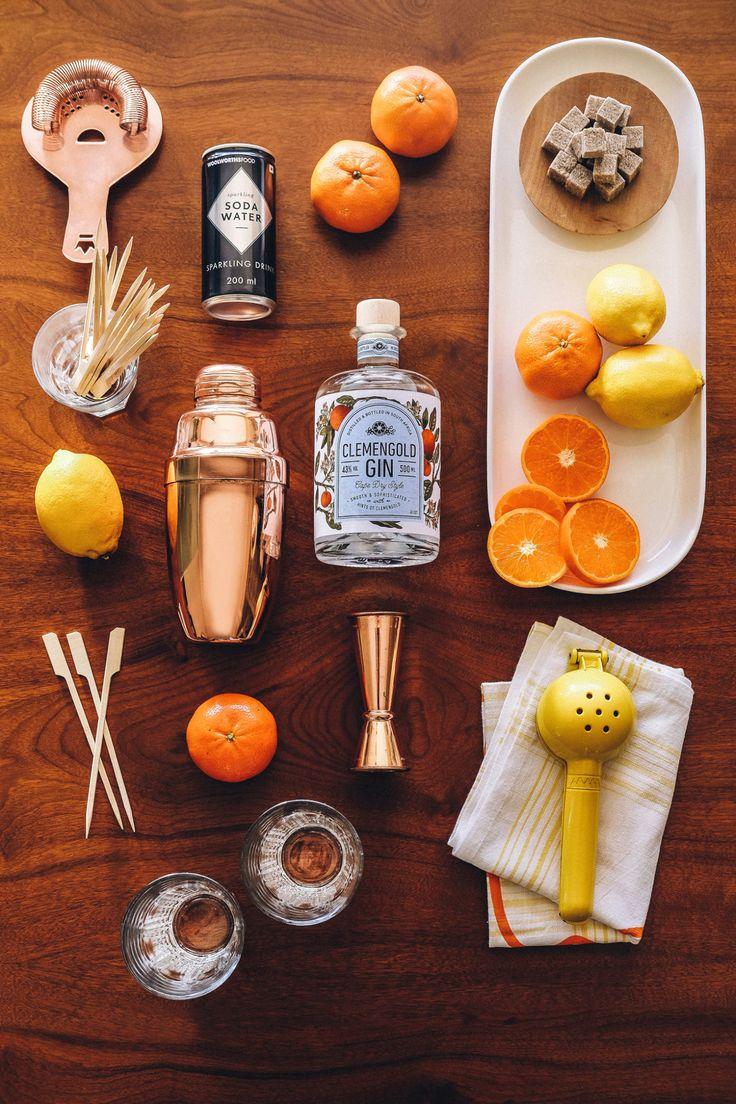 Drinks, Cocktails, Beverages, Bar, Home Bar, Gin, Club Soda, Soda Water, Sugar, Lemon, Clementine, Orange, Cocktail Bar, Ingredients, Strainer, Clemengold Gin, Copper Tools, Tom Collins