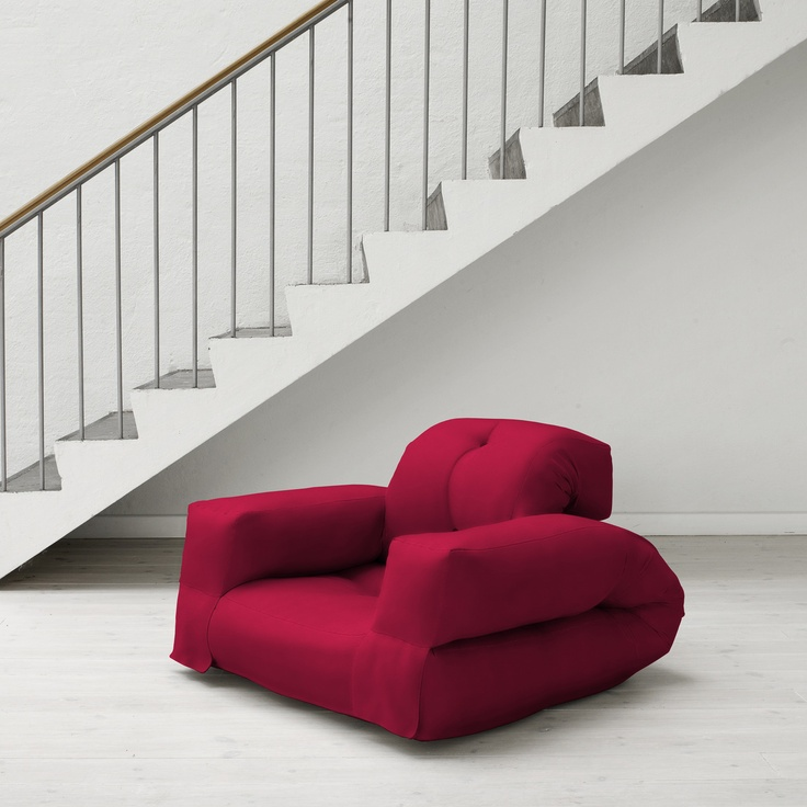 Jaxx Rhino...Unique and multifunctional, this sofa chair in cherry color can convert from a squishy and fluffy seat (complete with backrest and arms) to a comfortable sleep lounger.