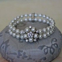 Two Row Pearl Bracelet with Diamante Crystals