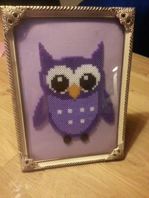 Cute owl in perler. Little gift for a friend of mine who is expecting a little girl
