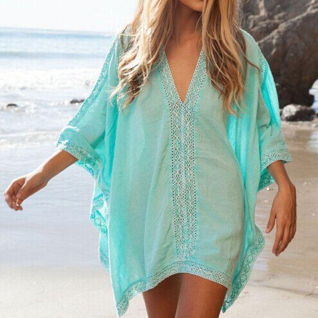 Lace Bikini Cover up Swimwear Beach Tunic Sarongs Beachwear Pareo Women Sexy Dress Bathing Suit Swimsuit Kaftan robe de plage