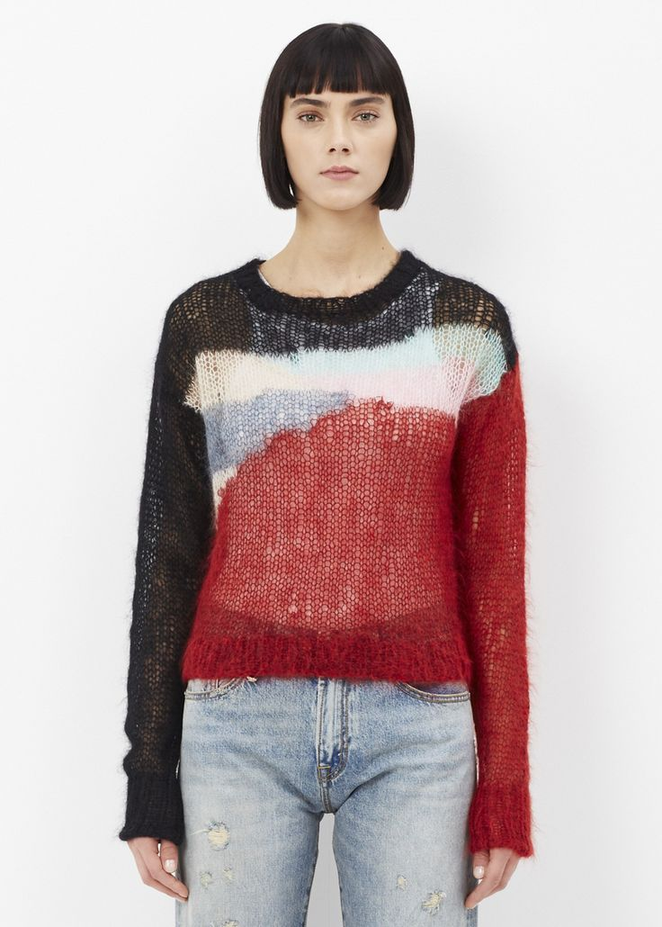R13 Cropped Open Knit Mohair Sweater (Multicolored)