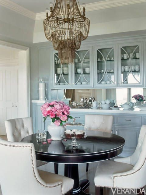 So elegant! And I love the display in the built in cabinet. Workman uses subtle pattern and texture to make a monochromatic scheme come to alive.
