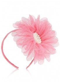 Mesh Floral Alice Band Pink