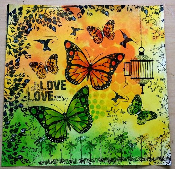 Kaszazz inspiration board dylusions stamping and stencils used