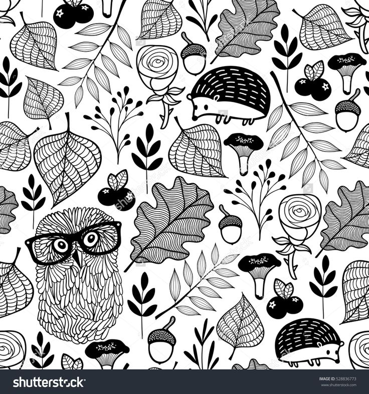Seamless pattern with forest plants and animals. Vector endless illustration for coloring.