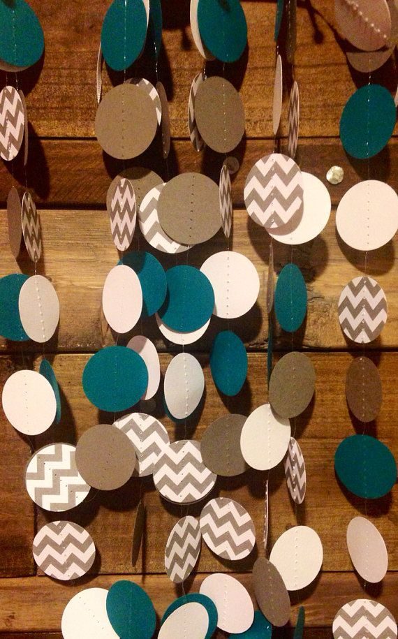 10 Feet Long Teal and Gray and White Chevron Paper Garland Birthday Party Decor, Baby Shower Decor, Nursery Decor, Wedding Etc! on Etsy, $8.00