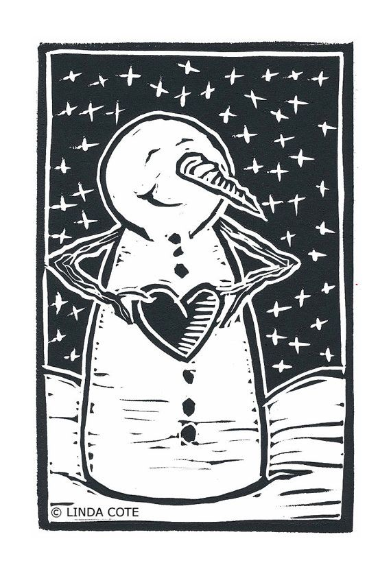 Snowman Love Hand Pulled Lino Relief Christmas by LindaCoteStudio, $7.00