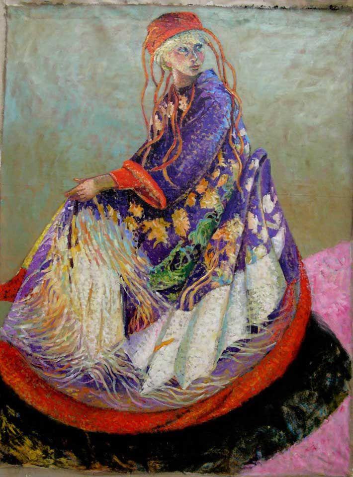 Le kimono violet,  h.s.t.  162x130cm