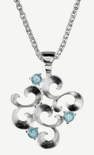 """""""Lumoava Kiara"""" (quote) Pendant made of sterling silver and topaz Finnish design by Eelis Aleksi Made in Finland by saurum.fi"""