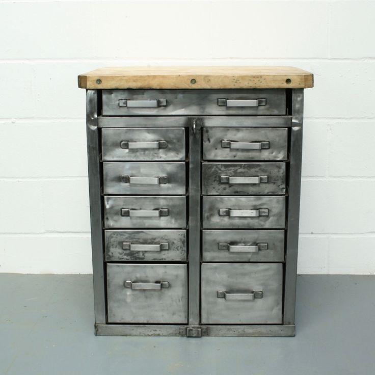 Vintage German Stripped Metal 11 Drawer Unit with Wooden Worktop