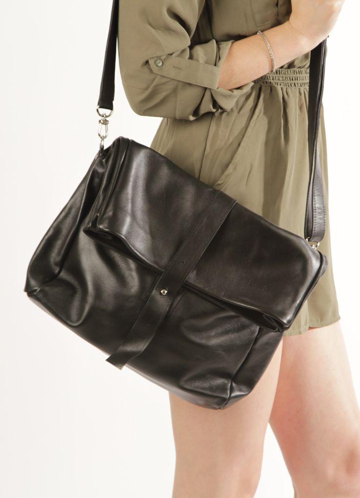 "Large Crossbody Bag ""Robin Black"", Genuine Leather Crossbody Handbag, Large Handmade Purse, Black Bag, Cross Body Bag, Italian Leather Bag"