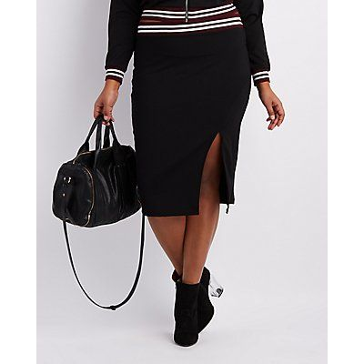 Plus Size Black Varsity Stripe Pencil Skirt - Size 3X