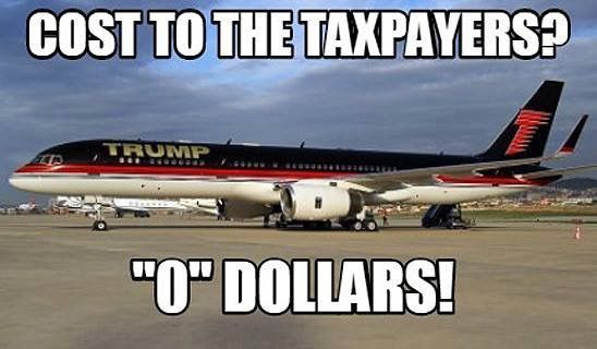He has his own plane that he pays for! He doesn't use taxpayers' money for anything unlike the Obamas. when they campaign for Clinton....