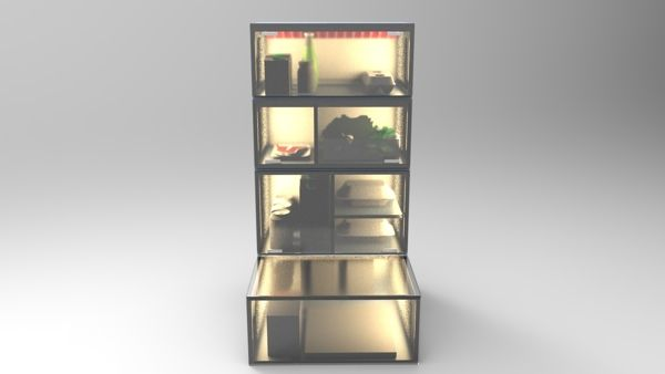 This is the result of a research project.  The project is a sustainable fridge concept.