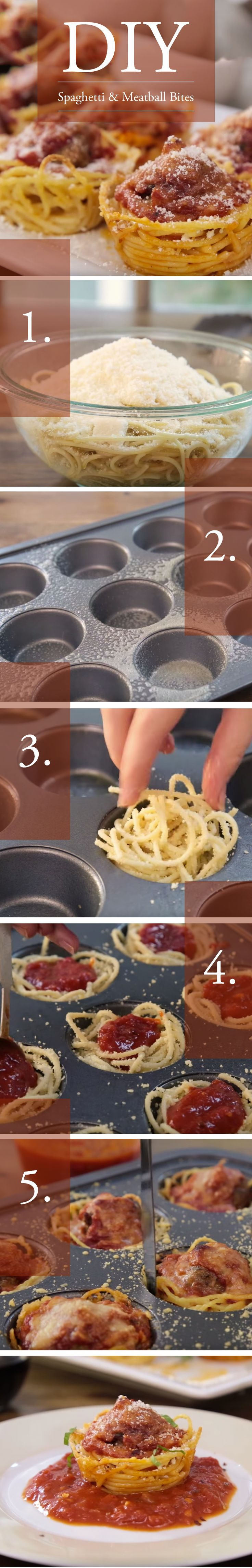 Spaghetti and Meatball Muffin Bites