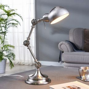 Lampe de bureau classique Ellisen, nickel