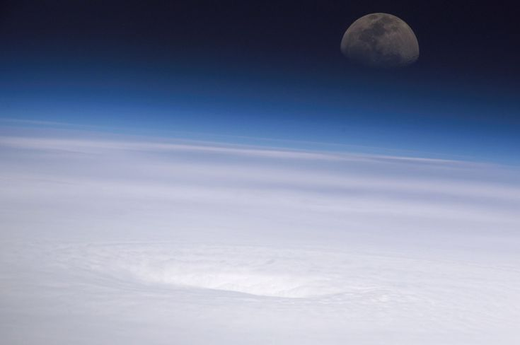 This high-oblique panoramic view, recorded by a digital still camera using a 400mm lens, shows the eye of Hurricane Emily on July 16th, 2005. The image was captured by the crew of the International Space Station while the complex was over the southern Gulf of Mexico looking eastwardly toward the rising moon. At the time, Emily was a strengthening Category 4 hurricane with winds of nearly 155 miles per hour and moving west-northwestwardly over the northwest Caribbean Sea about 135 miles…