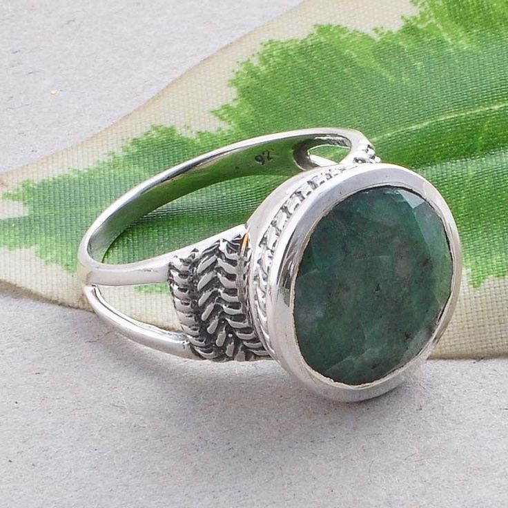 EMERALD GEMSTONE 925 SOLID STERLING SILVER STONE FANCY RING 4.97g R01554 #Handmade #RING