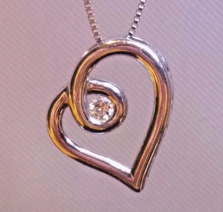 """Sterling Silver Love's Embrace .15 TCW Diamond Solitaire Pendant & 20"""" Necklace #Jared #Pendant"""