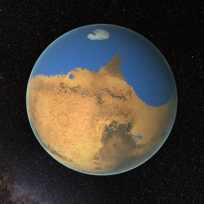 Researchers have determined that a primitive ocean on Mars may have once held more water than is currently found in Earth's vast Arctic Ocean. This paints a very different picture from the dusty Red Planet that we know today, and raises questions about where all that water could have gone.