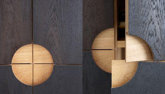Exemplos de puxadores nos móveis
