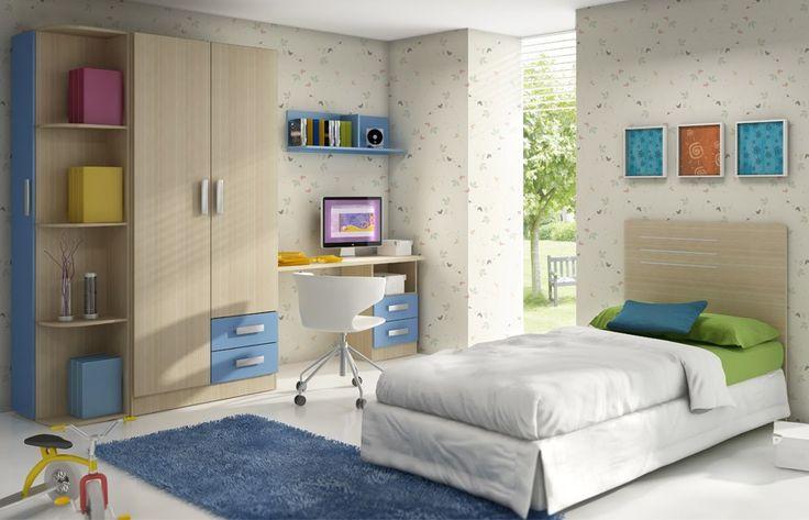 Chambre complète enfant couleur bois et bleu moderne BENJI