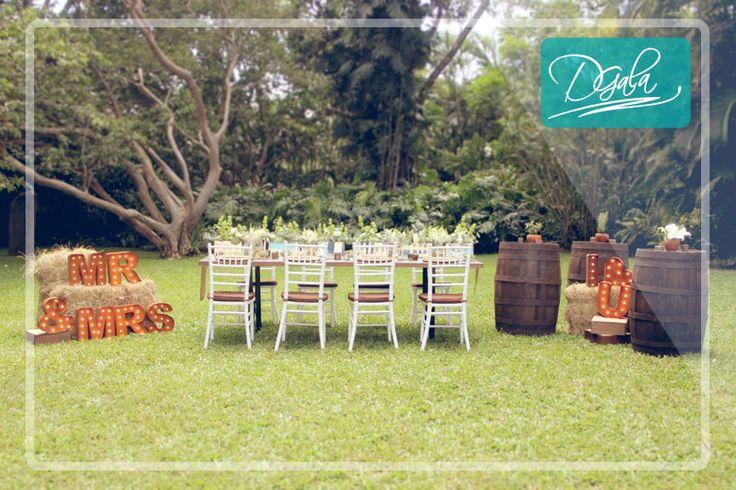 Tenemos a tu disposición nuestra línea rústica que cuenta con letras marquesinas, barriles y mesas de madera.  Visita nuestra sala de exhibición en Guachipelín de Escazú.  Para más información:  22-15-64-31  info@dgalaevents.com facebook/dgalaevents