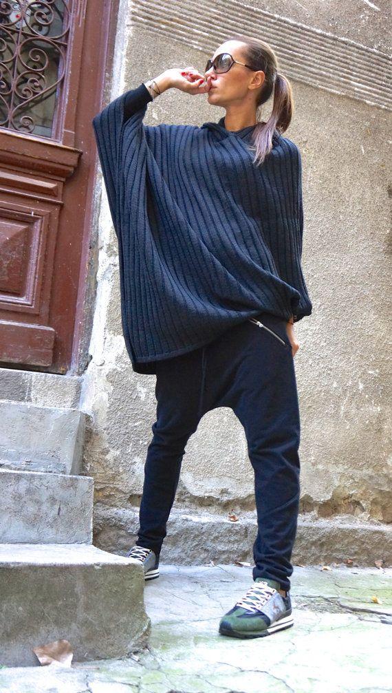 NEW  Loose Casual  Black Drop Crotch Harem Pants/ by Aakasha