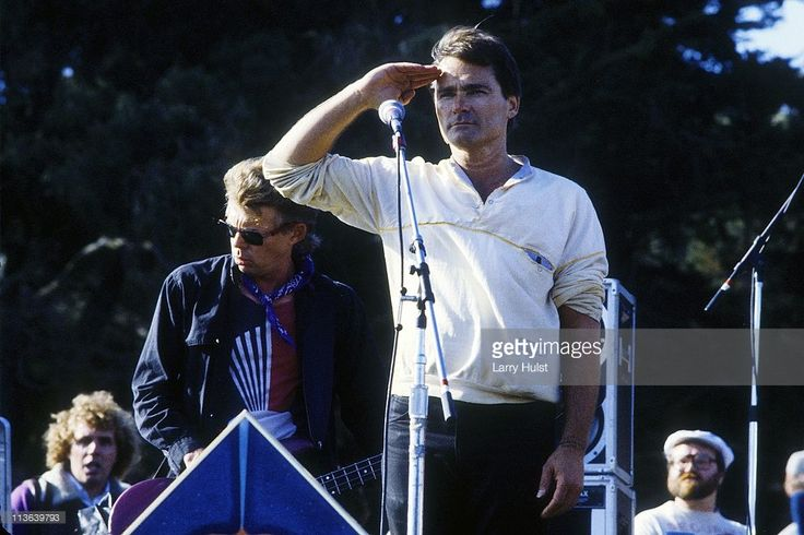 Jack Cassidy and Marty Balin performing with the 'Jefferson Starship' in Golden Gate park in San Francisco, California on June 23, 1985.