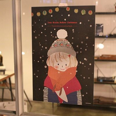 message poster-foxy girl / christmas illustration