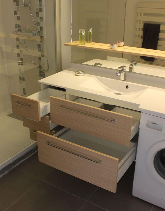 meuble-salle-de-bain-avec-lave-linge Malta Nowa Pinterest Tiny - meuble salle de bain panier a linge