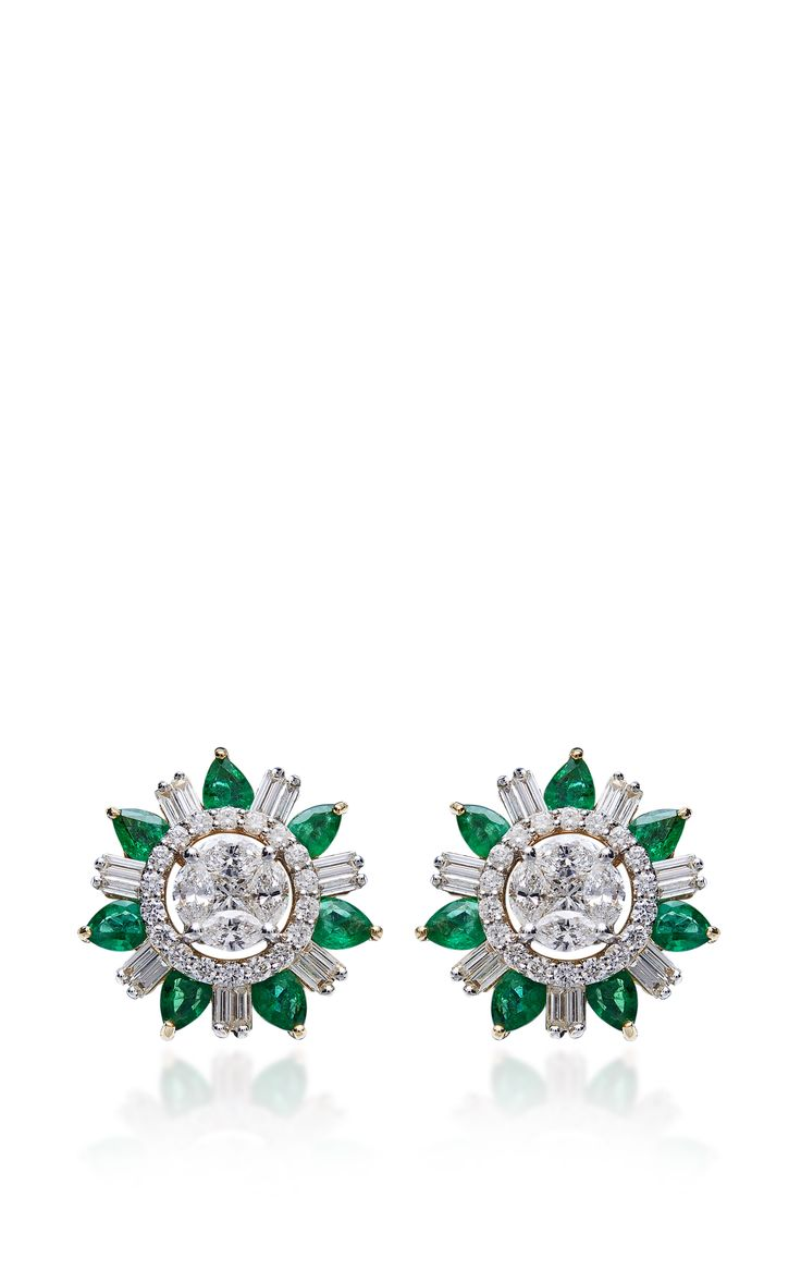 Emerald And Diamond Stud Earrings by Farah Khan Fine Jewelry