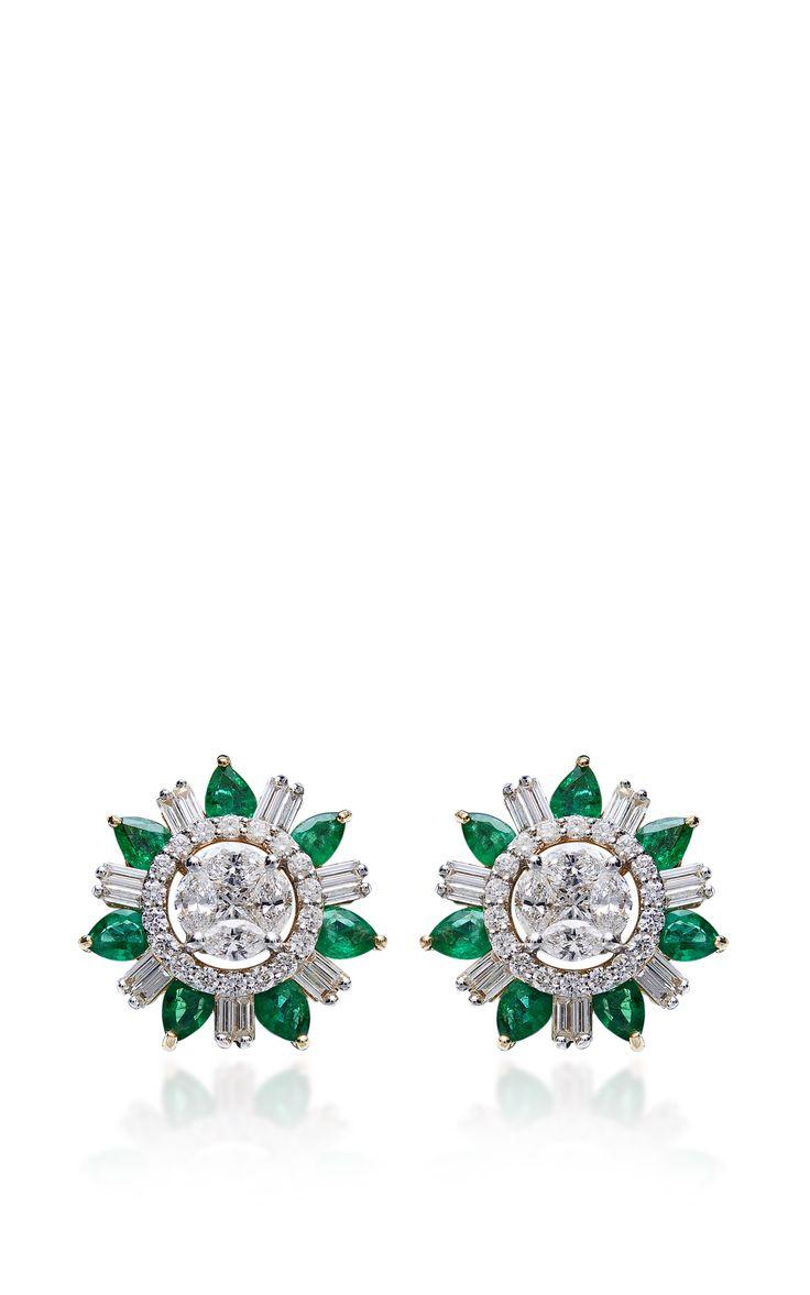 Emerald And Diamond Stud Earrings By Farah Khan Fine Jewelry