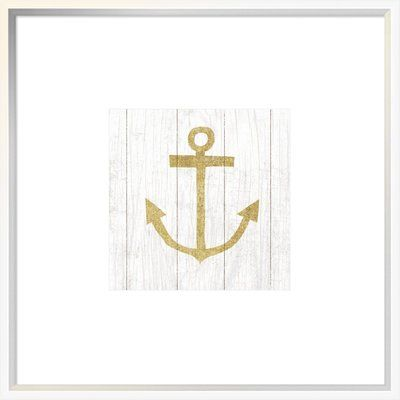 "East Urban Home 'Beachscape III Anchor Gold Neutral' Graphic Art Print Format: Collins White Framed, Matte Color: No Matte, Size: 30"" H x 30"" W"