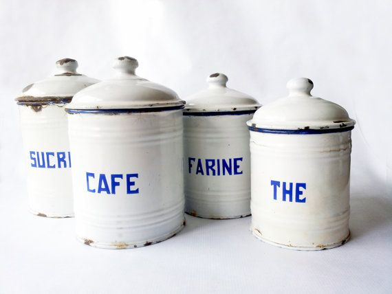 Christmas Present,French Kitchen Canisters SET,white / French Enamelware/  French Decor /