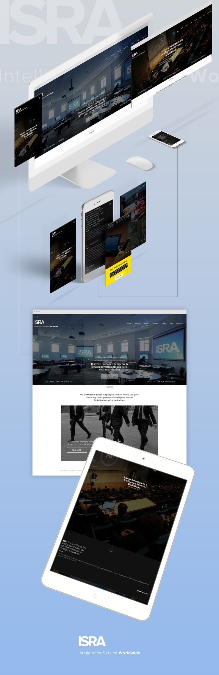 ISRA is a leading security & detective agency in Europe, with offices in New York, London, Berlin and etc.  Description:  The task was to create WP website based on PSD mockups according to the clients requirements. I developed informational pages with the ability to edit the content. I installed and set up the following plugins:  - Contact Form 7,  - Custom Field Suite,  - Yoast Seo, Polylang,  - WP Mail SMTP. Technologies used: PSD to WP, CSS, HTML, PHP.