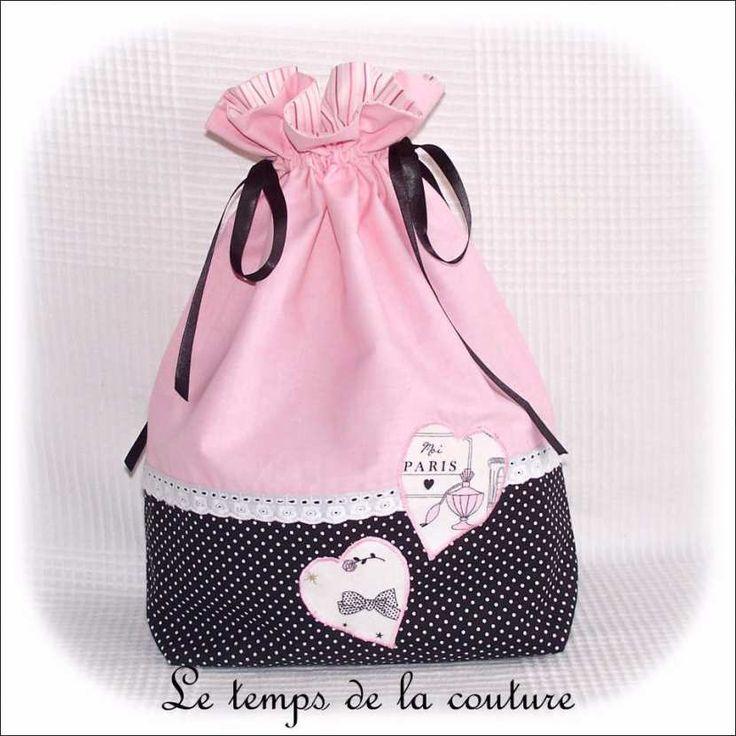 sac pochon linge lingerie blanc rose noir parisienne dijon gien chatillon loire couture création décoration fait main le temps d