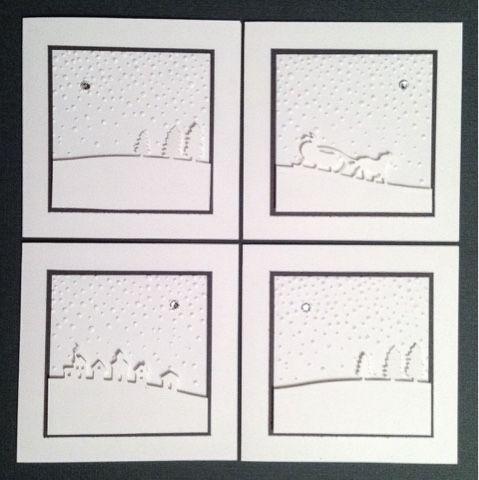 Mit den Schlittenfahrt-Thinlits von Stampin' Up noch flugs ein paar Kartensets gebastelt...              Hmm... Lässt bei euch beim Hochlad...