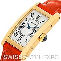 SwissWatchExpo - Tank Americaine::Cartier Tank Americaine 18K Yellow Gold Watch W2601556    The elongated, slightly convex lines of the Tank Américaine model make it a great classic for either formal or everyday wear.