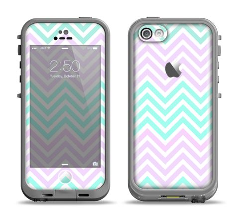 The Light Teal & Purple Sharp Chevron Apple iPhone 5c LifeProof Fre Case Skin Set