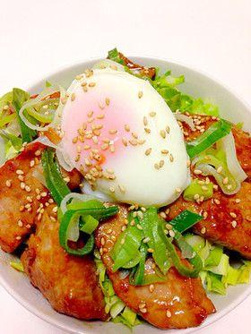 Pork and Egg Don with Garlic 簡単!にんにく入りスタミナ豚の温玉丼♡