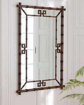 This type of bamboo-framed mirror would hang above the deep red Chinese cabinet, to reflect light, expand the room, and add to the warmth. Alas, from Williams-Sonoma, it is close to $900 when shipped.