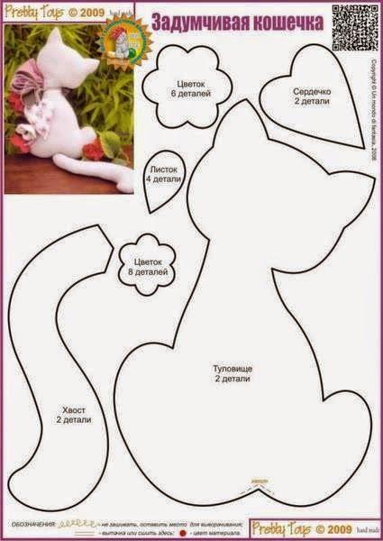 Mãe & Filha Artesanatos: Moldes Gatos em Tecido e Feltro